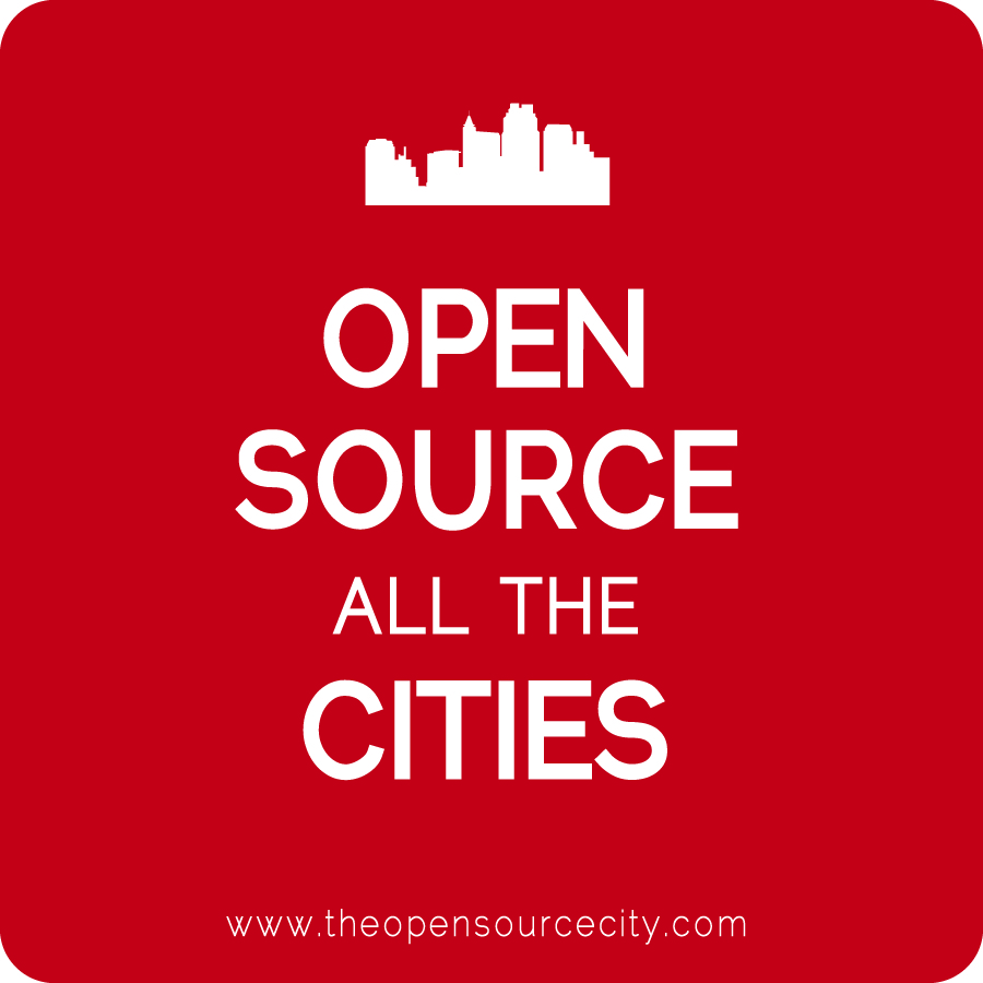 Open source all the cities red sticker